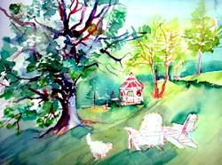 The Gazebo at Rosewood Country Inn- painting by Lily Azerad-Goldman