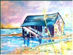 Kennebunkport port wreck- Painting by Lily Azerad-Goldman