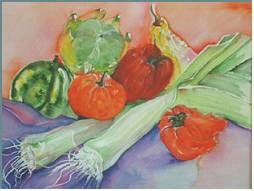 Leeks- painting by Lily Azerad-Goldman