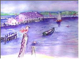 Provincetown Wharf: Painting by Lily Azerad-Goldman
