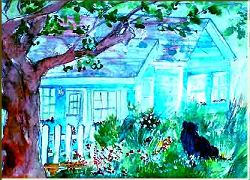 Blueberry Hill House- Painting by Lily Azerad-Goldman