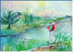 Fly Fishing- painting by Lily Azerad-Goldman